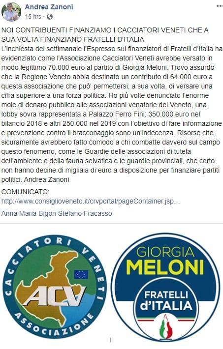 cacciatori veneti finanziamento fratelli d'italia - 1