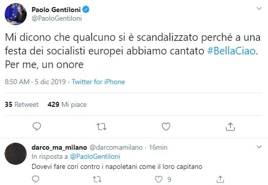 paolo gentiloni bella ciao