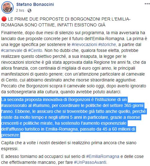 bonaccini borgonzoni asssessorato turismo - 1