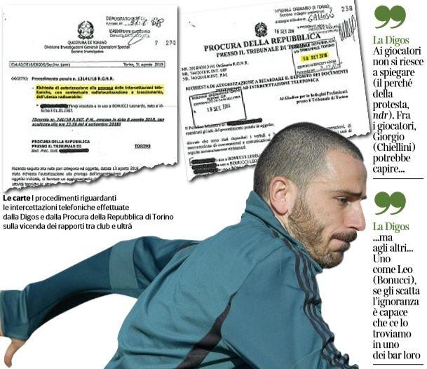 Bonucci, intercettato un messaggio all'ultrà della Juventus