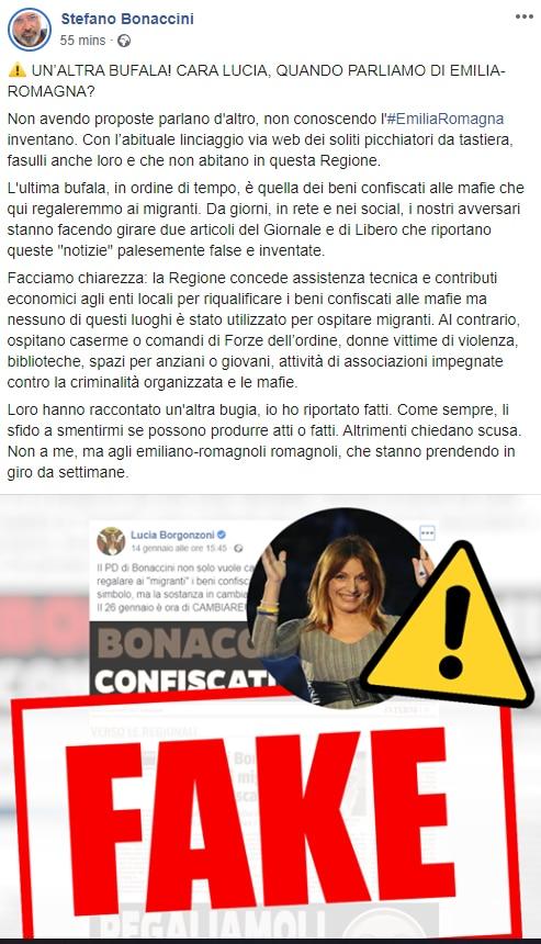 borgonzoni migranti fake bonaccini - 1