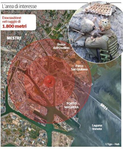 domenica 2 febbraio venezia evacuata bomba marghera