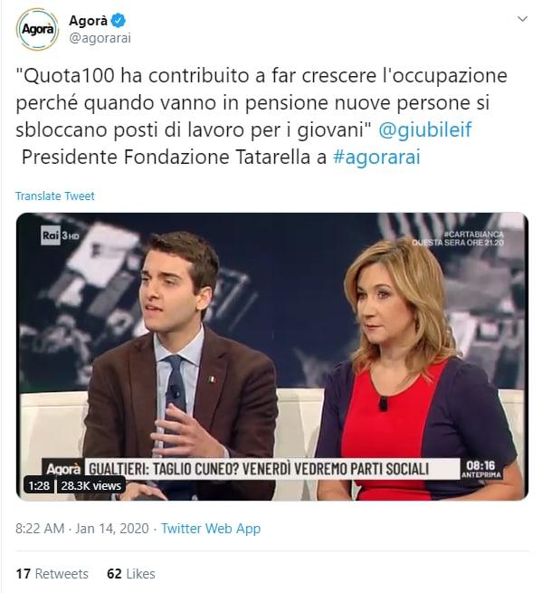 francesco giubilei quota 100 agorà - 1