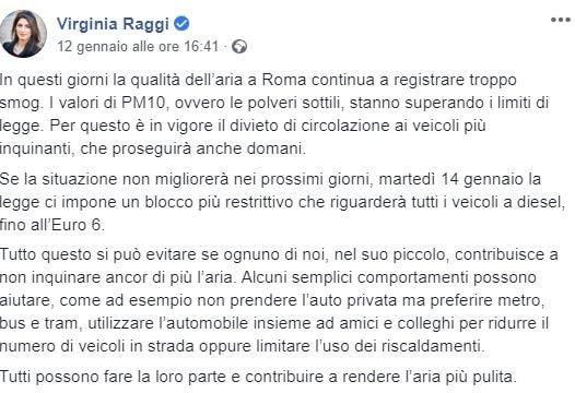 raggi stop diesel euro 6 roma