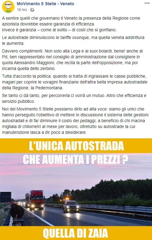 rincari autostrade pedaggi zaia veneto cav - 2