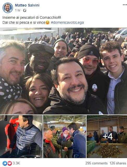 Le promesse da marinaio di Salvini ai pescatori di Comacchio