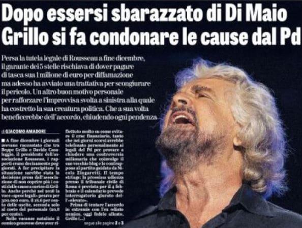 Matteo Salvini e Grillo che si fa condonare le cause dal PD