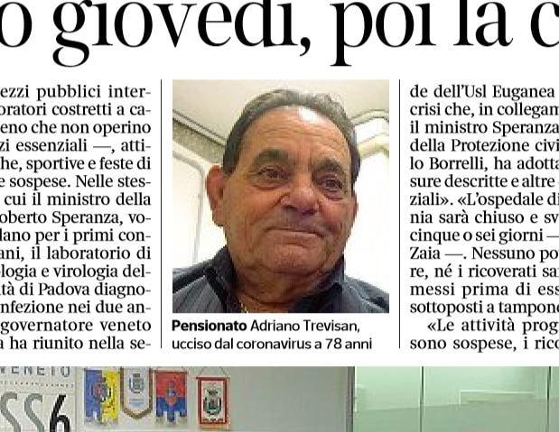 Adriano Trevisan: la prima vittima del Coronavirus in Italia
