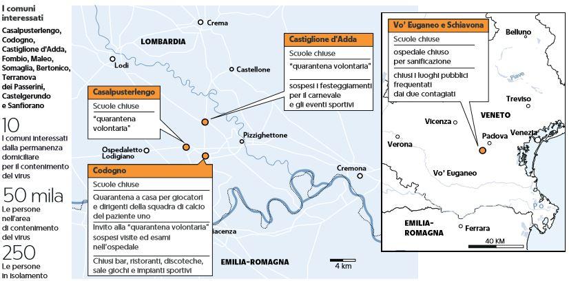 Dove sono i venti contagiati dal Coronavirus in Italia