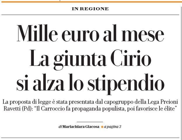 giunta piemonte mille euro al mese