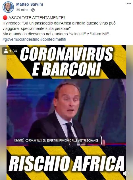 Il Coronavirus in Nigeria portato da un italiano (ma Salvini