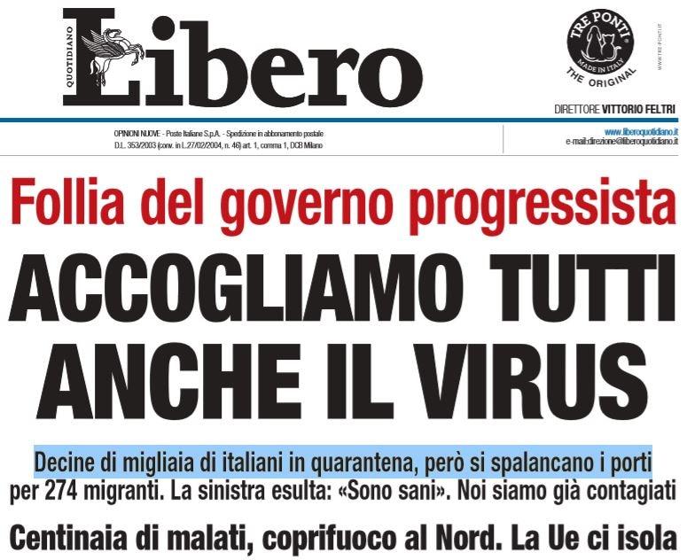 libero sciacallo coronavirus