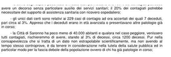 L'ordinanza del Comune di Saronno che prevede 1200 morti per