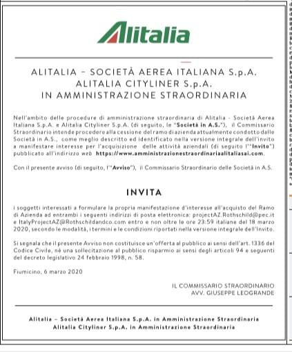 Alitalia: l'ok dell'Unione Europea alla nazionalizzazione