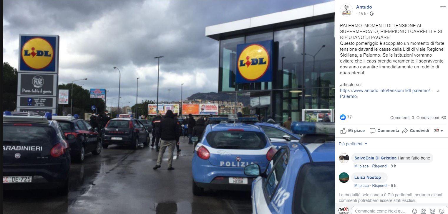 assalto supermercato lidl palermo