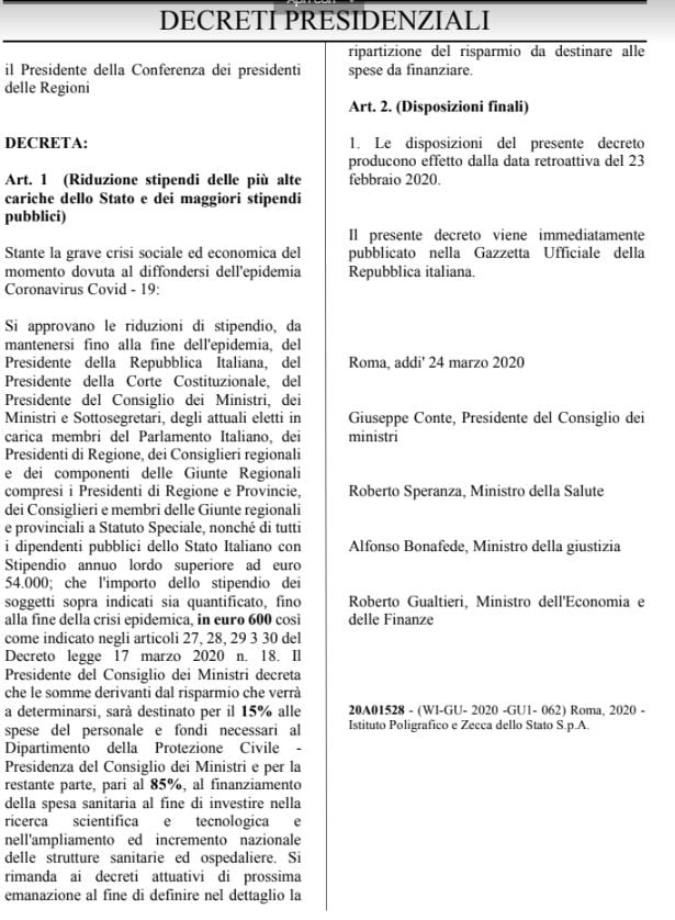 bufala 600 euro alte cariche dello stato 2