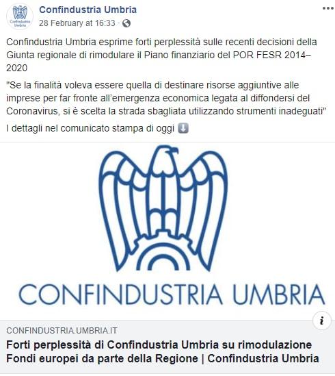 confindustria umbria por fesr fondi tesei coronavirus -1