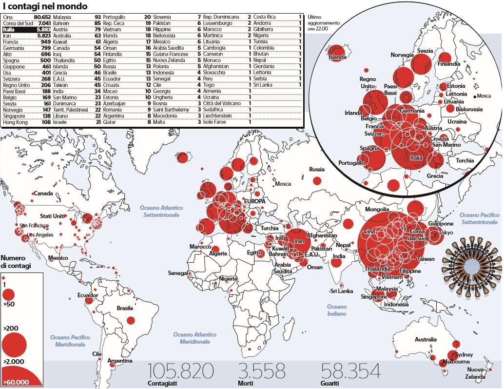 coronavirus contagi nel mondo