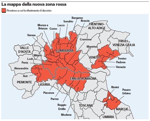 coronavirus lombardia province zone chiuse zona arancione 1
