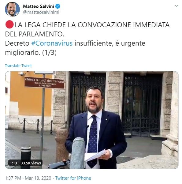 lega salvini convocazione parlamento - 1