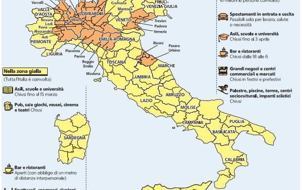 Cartina Regione Lazio Divisa Per Province.La Mappa Delle Zone Gialle E Arancioni E Delle Restrizioni Regione Per Regione
