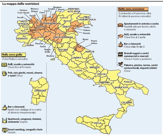 Cartina Italia Suddivisa In Regioni.La Mappa Delle Zone Gialle E Arancioni E Delle Restrizioni Regione Per Regione