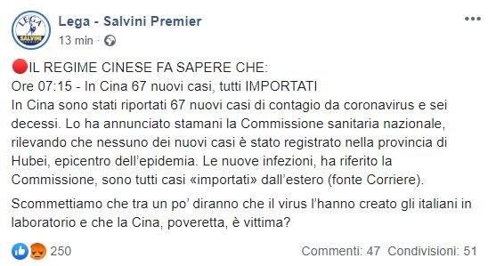 pagina facebook lega coronavirus