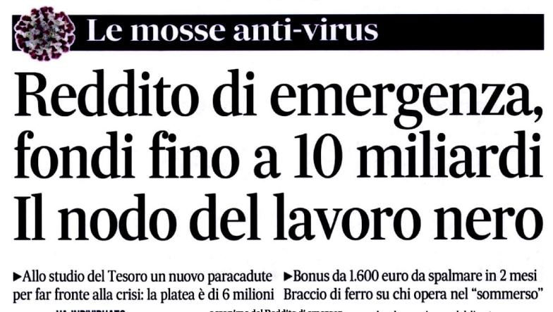 Reddito di emergenza: un bonus da 1600 euro per sei milioni