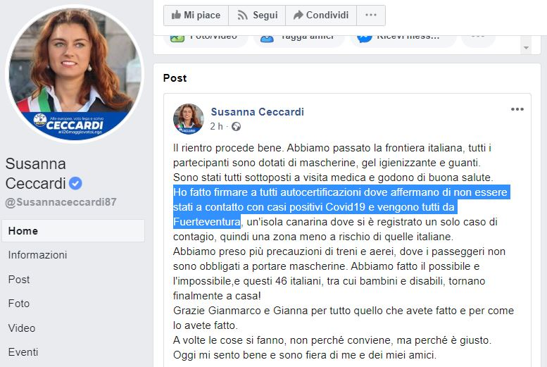 Ceccardi recupera italiani bloccati in Spagna