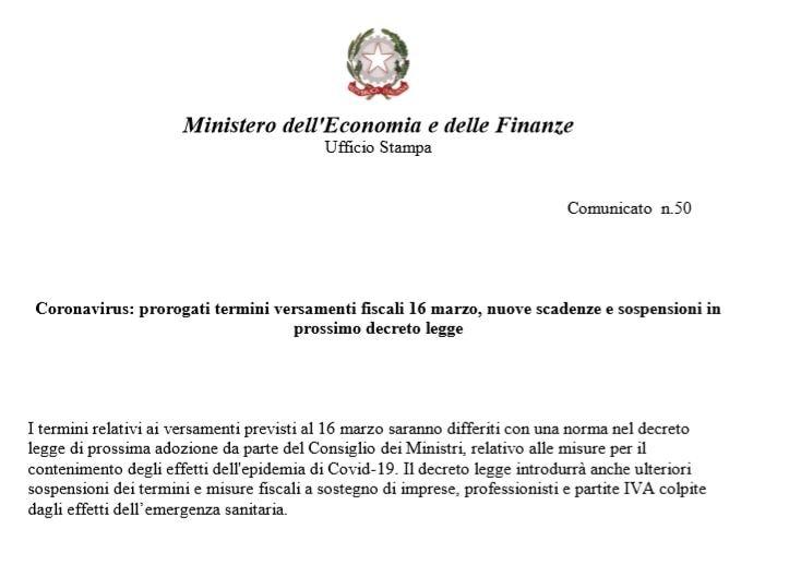 versamenti fiscali 16 marzo prorogati