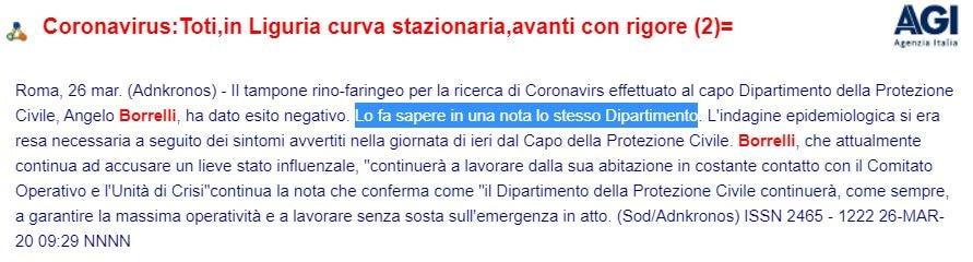 angelo borrelli test del tampone coronavirus 1