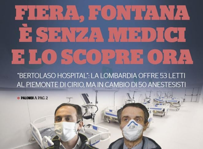 Fontana senza medici per l'Ospedale alla Fiera di Milano