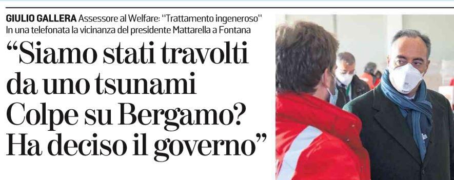 L'ammissione di Giulio Gallera sulla Regione Lombardia e la