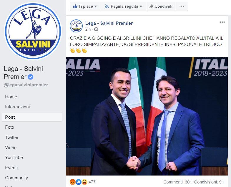 Chissà se Salvini scoprirà prima o poi che Tridico all'INPS