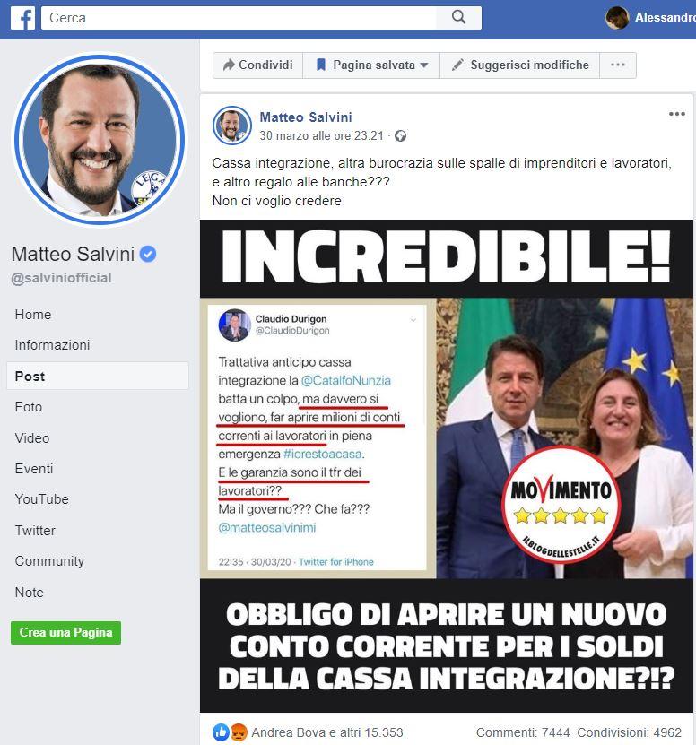 Matteo Salvini e la bufala del conto corrente per la cassa i