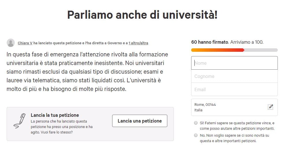 petizione università emergenza coronavirus