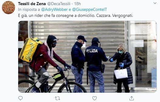 rider consegne domicilio italiano multato 1