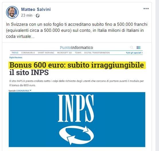 Anche Il Giornale spiega che quella di Salvini sulla Svizzer