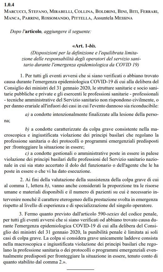 Coronavirus: lo scudo penale per i medici (e per i dirigenti
