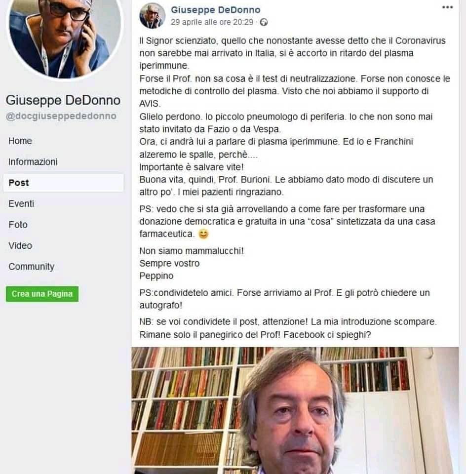 GIUSEPPE DE DONNO STATUS BURIONI