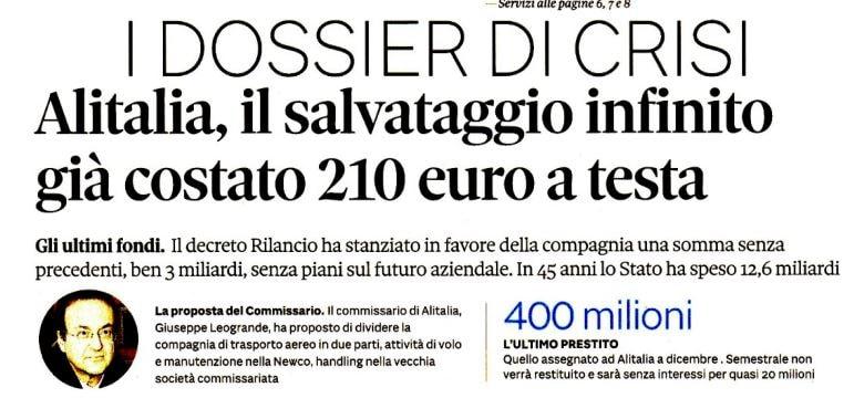 alitalia salvataggio 210 euro a testa
