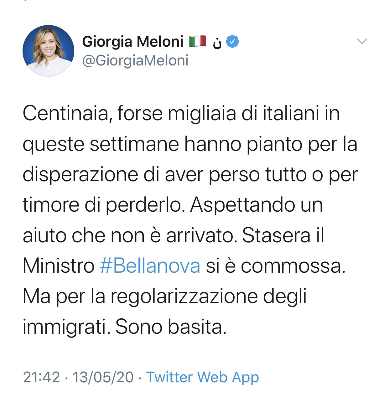 bellanova lacrime sanatoria migranti meloni