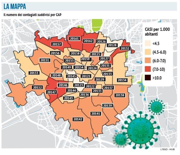 coronavirus mappa zone milano contagio