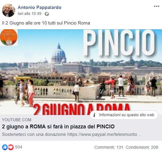 generale pappalardo 2 giugno roma piazza del pincio