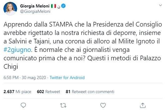 Palazzo Chigi: omaggio al Milite Ignoto spetta al capo dello Stato