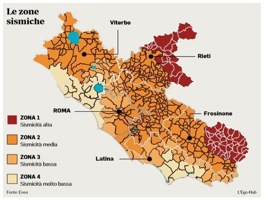 Cartina Lazio.La Mappa Delle Zone Sismiche A Roma E Nel Lazio