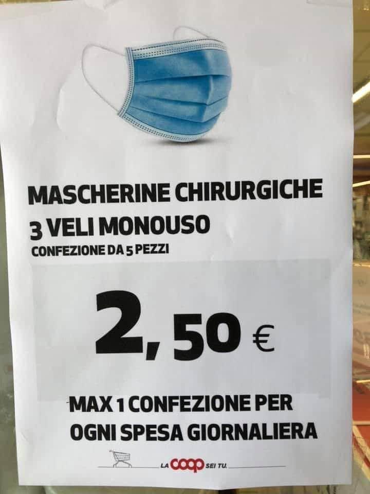mascherine 50 centesimi coop
