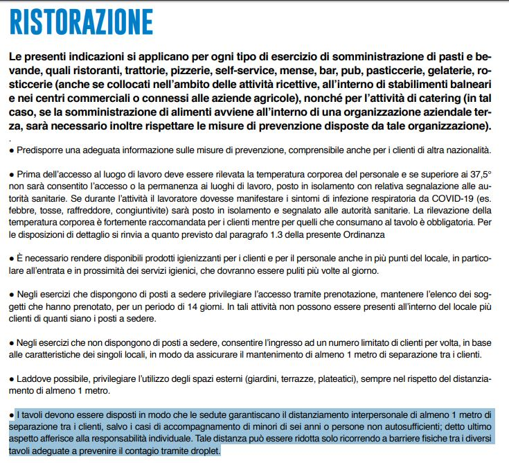La Lombardia modifica (di nuovo) le linee guida per i ristor