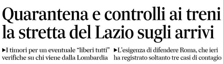 La quarantena per chi arriva nel Lazio da Lombardia e Piemon