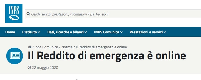 reddito di emergenza inps presentazione domande